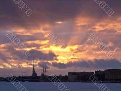 sunset in Saint-Petersburg