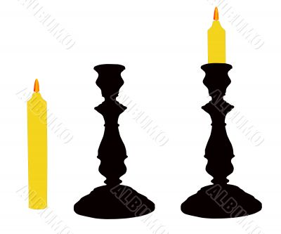 The Candlesticks with candle.