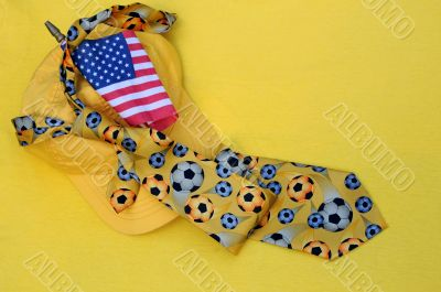 Yellow Baseball Cap, Necktie and US Flag