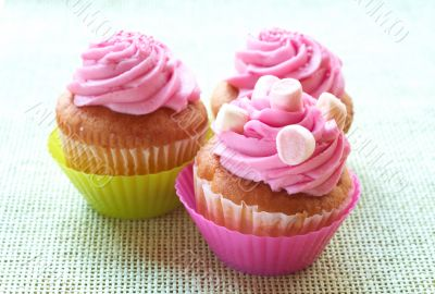 Small vanilla cupcakes with strawberry icing and marshmallows