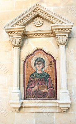 Agia Paraskevi icon on old Cyprus church