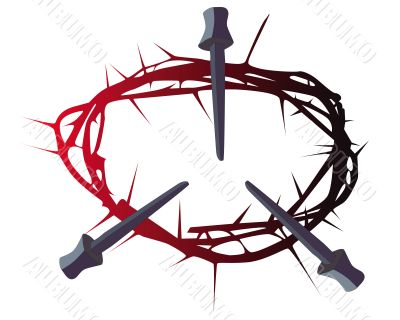 crown of thorns with three nails