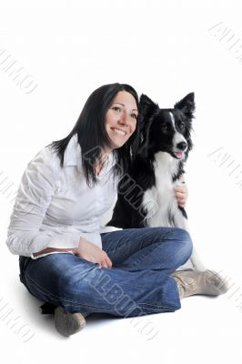 border collie and woman