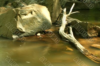 Stream with boulder and log