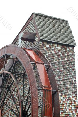 Isolated Giant water wheel for a old mill