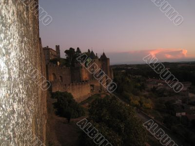 Carcassonne sunset in south France