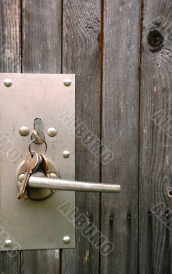 Lock Assembly in the Wooden Door