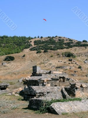 Paragliding Over Ruins of Hierapolis