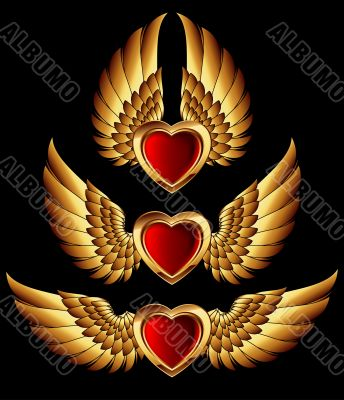 heart forms with golden wings