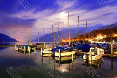 Boats on Lake Thun.