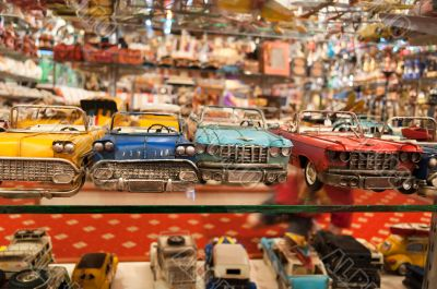 toy cars in the shop window