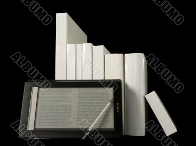 Row of printed books with electronic book reader
