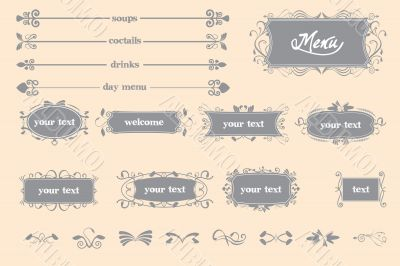 Restaurant menu with caligraphic elements