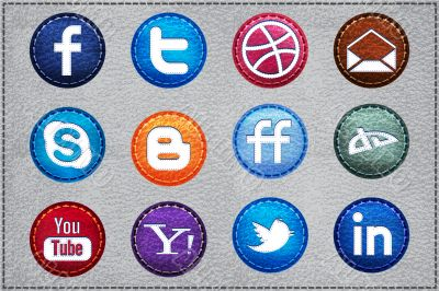 Vector Leather Social icons