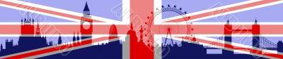 London skyline with flag on background