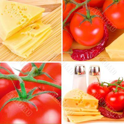 cheese, tomatoes, pepper, salt