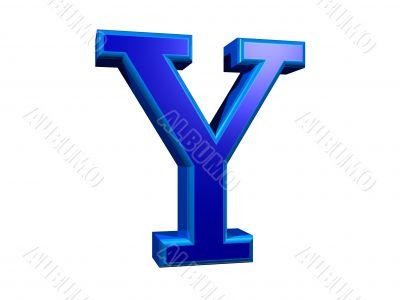 letra y azul