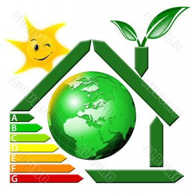 Energeting saving with terrestrial globe and sun