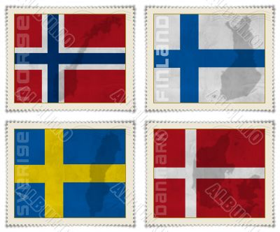 Europe stamps flags