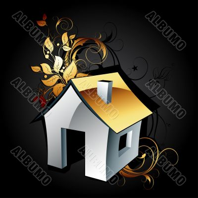 web icon house with floral elements