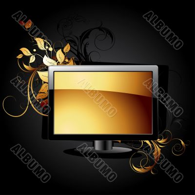 web icon LCD panel with floral elements