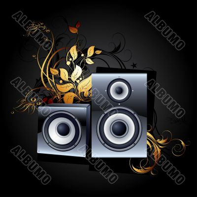 web icon speakers with floral elements