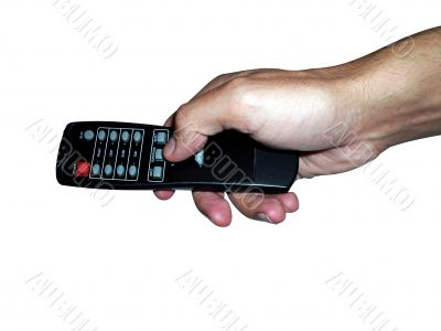 mano y control remoto home theater