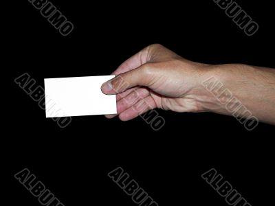mano y tarjeta personal