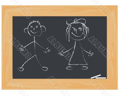school board with  children`s drawings