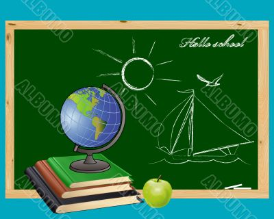 Globe, books,  green apple and   school board