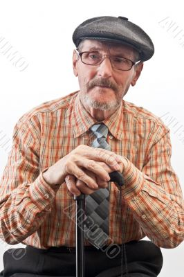 the elder in checkered shirt