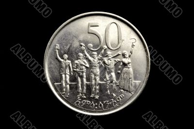 The face of a fifty cents Ethiopian coin