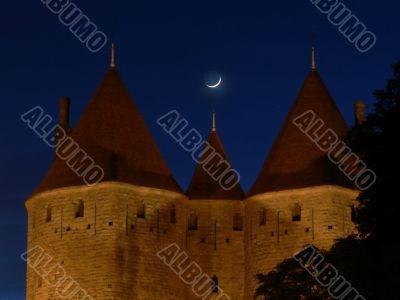 The moon over la cite de Carcassonne