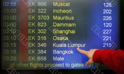 Departure on a screen
