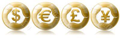 Dollars pound euro yen futuristic coin