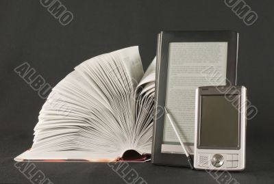 Open book, e-book reader and hand held computer
