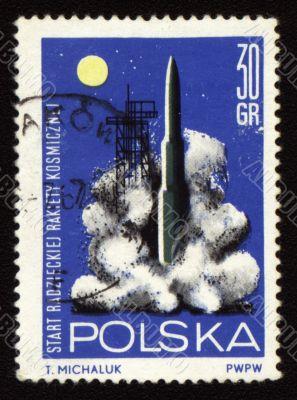 Rocket start on post stamp