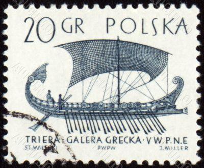 Greek galley Trier on post stamp