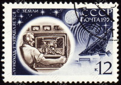 Control center of Lunokhod-1 on post stamp