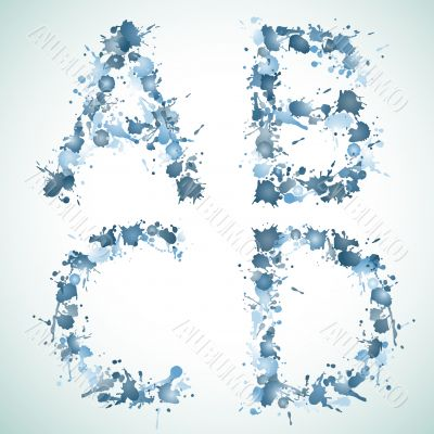 alphabet water drop ABCD