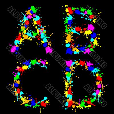 alphabet color drop ABCD