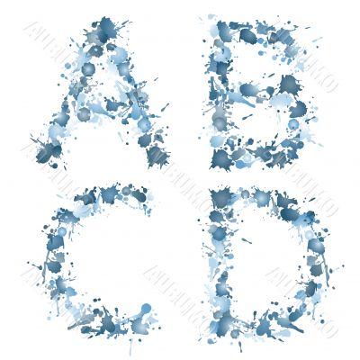 alphabet water drop white