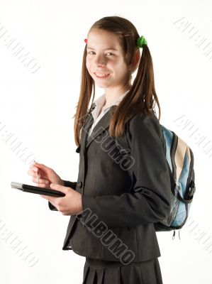 Teen girl with electronic book reader