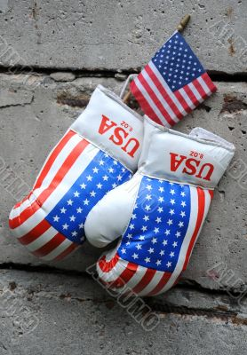 Used Boxing Gloves and US Flag
