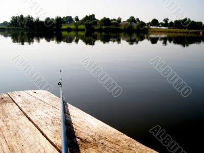 rod on the wooden bridge