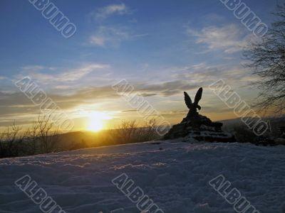 Eagle and the sunset. Pyatigorsk symbol. Mashuk