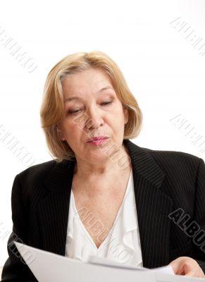 Senior Woman in black on white background