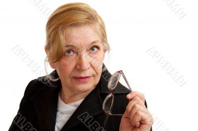 Senior Woman in black on white background.