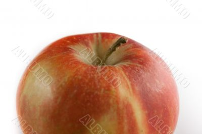 Red apple on white background. Detail.
