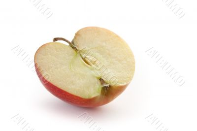 Half of red apple on white background